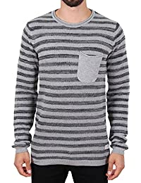 Blend Stripe Pocket Strick Pullover Grau
