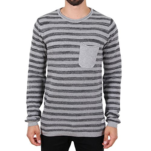 Blend Stripe Pocket Strick Pullover Grau Grau