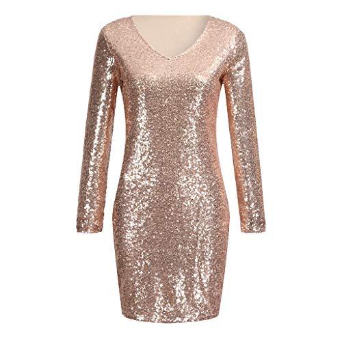 (Luckycat Damen Sparkle Glitzy Glam Sequin V Ausschnitt Sleeveless Partykleider Verein Minikleid Abendkleider Cocktailkleid Blusenkleid Kleider)