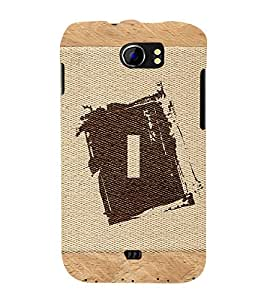 Fabcase alphabet I brownish colour salwood corners arial bold font Designer Back Case Cover for Micromax Canvas 2 A110Q :: Micromax A110Q Canvas 2 Plus :: Micromax Canvas 2 A110