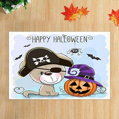 eppiche Cartoon piratenhund und kürbis für Kinder Halloween Party rutschfeste fußmatte Boden eingänge Indoor haustür Matte Kinder Bad Matte 15,7x23,6 Zoll Bad zubehör ()