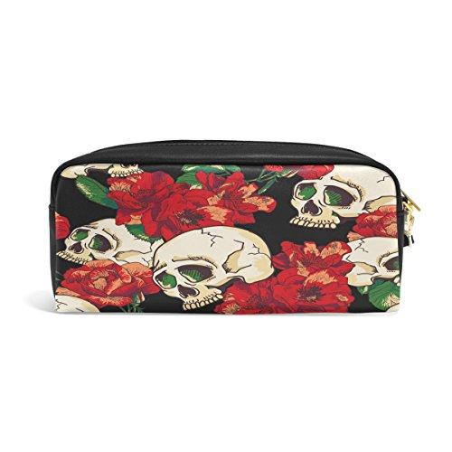 dokomo Sugar Skull rot Blume PU-Leder Pen Pouch Federmappe Fall Make-Up Kosmetik reisen Schule Tasche