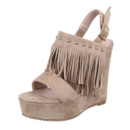 Damen Schuhe, XY1900, SANDALETTEN KEILABSATZ PLATEAU PUMPS PLATEAU KEILABSATZ Beige