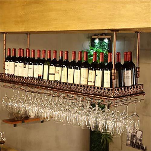 Weinregale Metall Bar Suspension Bar Theke Weinregale Restaurant Haushalt Weinglas Rack umgedreht Retro Eisenkunst Weinregal (Größe: 80 * 35 cm) (Farbe : Wie Gezeigt, Größe : 100 * 35cm) (Theke Restaurant)