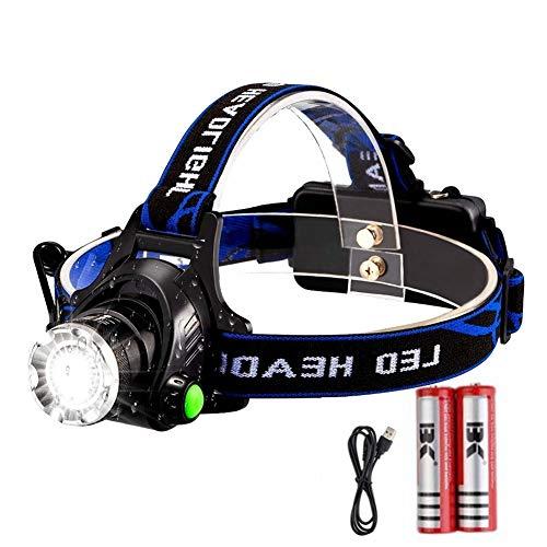 OCMCMO LED Wasserdicht Stirnlampe,Super Bright USB Wiederaufladbare LED Kopflampe,3 Lichtmodi | 90° Verstellbar Headlight | USB Kabel | 2 * 18650 Akku, ideal für Camping, Joggen, Outdoor