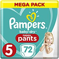 Pampers - Baby Dry Pants - Couches-culottes Taille 5 (12-17 kg) - Mega Pack (x72 culottes)