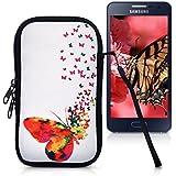 """kwmobile Funda de neopreno para móvil para smartphones M - 5,5"""" - Funda para smartphone carcasa protectora con Diseño enjambre de mariposas multicolor rosa fucsia blanco"""
