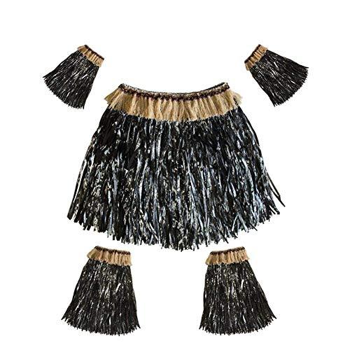 Metyere Hawaii Bastrock Elastisch Luau Gras Kostüm Rock mit Armbinden Legbands für Strand Party - - Gras Rock Kostüm