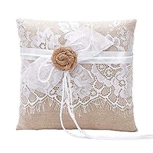 Amajoy Vintage Hochzeit Ringkissen Sackleinen Jute Spitze Blumen 19cmx 19cm