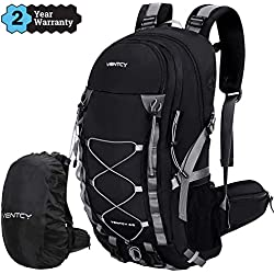 VENTCY 40L Sac à Dos Randonnée Sac Trekking Femme Homme College Ordinateur Voyage Impermeable Trekking Camping Noir