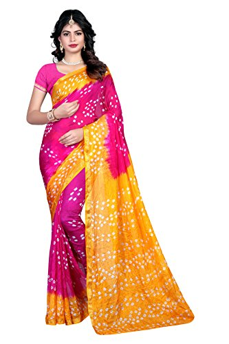 Divine International Women's Tussar Silk Tie And Dye Bandhani Sarees With Blouse...