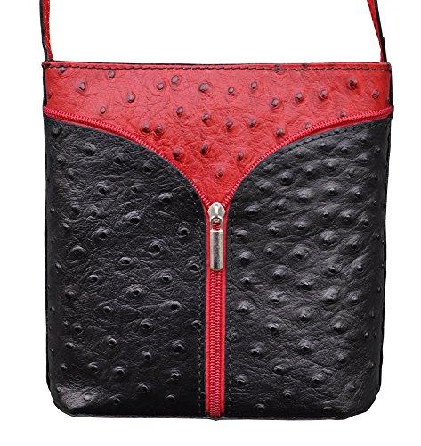 Damen Handtasche Straußenlederoptik Echt Leder Schwarz Rot -278 (Handtasche Straußenleder)