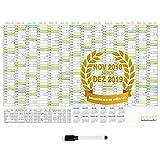 XL Wandkalender 2019 Abwischbar 87x58cm (großem A1) gefalzt mit Praktischer Marker, Jahresplaner 2019 fürs Büro oder für den Klassenraum - Wandplaner 14 Monate Nov 2018 - Dez 2019, FSC Papier