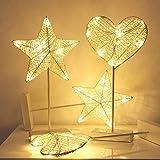 Temperamento 40 centimetri LED luce di notte romantica del cuore della stella della lampada di notte Erba rattan intrecciato spia di alimentazione ragazze batteria della camera da letto Lampada da tav