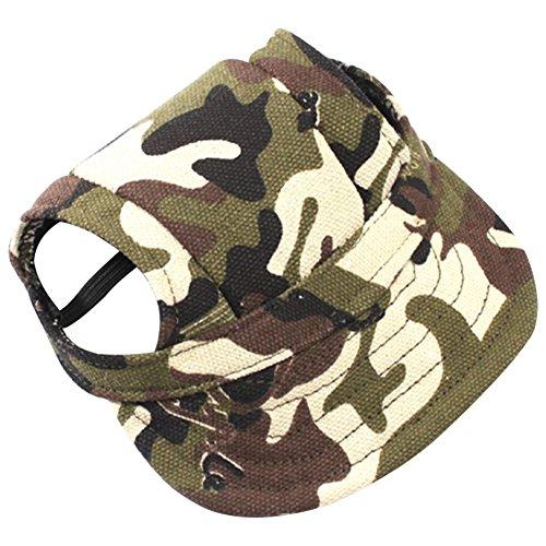 (saianke Pet Hund Baseball Hat Sun Visor Cap mit Ohrenaussparung Ourdoor Camouflage mit Kopfbedeckungen für kleine medium breed)