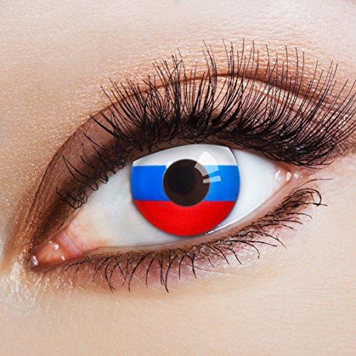 aricona Farblinsen Farbige Kontaktlinse Flagge Sbornaja   – Deckende Jahreslinsen für dunkle und helle Augenfarben ohne Stärke, Farblinsen für Karneval, Fasching, Motto-Partys und Halloween Kostüme