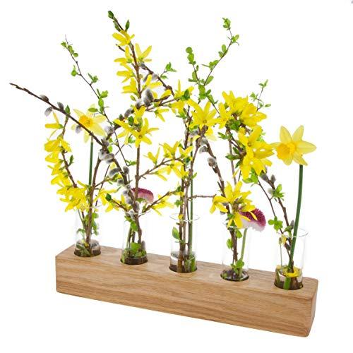 Blumenvase mit Reagenzglas aus Holz | Design Vase Glas Blume Blumen Ständer Massivholz | klein modern als Tischdeko Deko Dekoration Geschenk Gestell Natur Tischvase (Eiche - 30cm - 5er) (Glas-vase Blumen Mit)