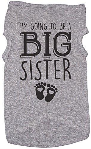 Big Sister Shirt für Hunde/I 'm Going to Be A Big Sister/Welpen Tshirt/Mädchen, XL, Grau Meliert -