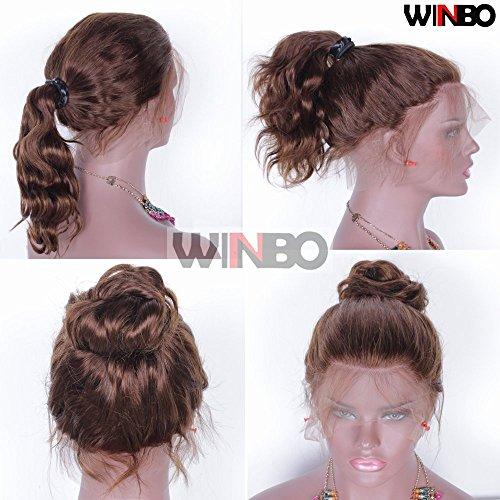 WINBOWIG Brown Body Wave Cheveux Humains Pleine Dentelle Avant Perruques Perruques Remy Brésiliens de 150% Densité Préencollés Naturels(16 inches, Lace Front Wig)