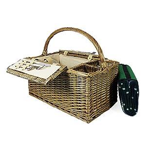 empresa diseño: Cesta de picnic con tapa, diseño de 2 personas, con tartán verde, ideal como reg...