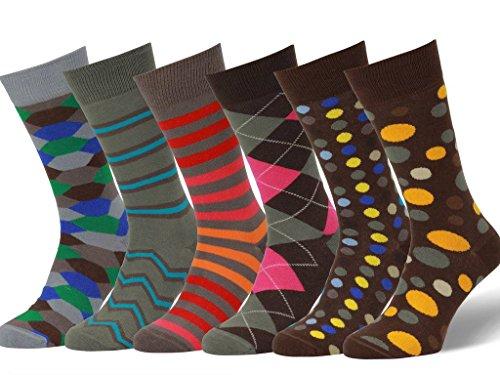 Easton Marlowe 6 PR Calcetines Estampados Hombre - 6pk #19, mixed - neutral main colors, 39-42 EU shoe size