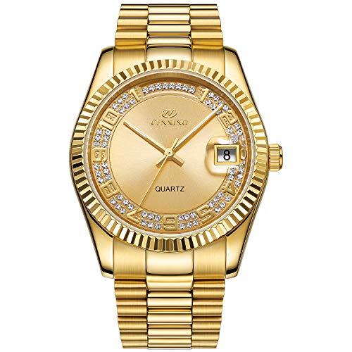 BUREI Herren Damen Klassische Analog Quarz Armbanduhr Full Gold Dial mit Zahlen und Strass Datum Fenster Edelstahlgehäuse und Armband (Gold-3)