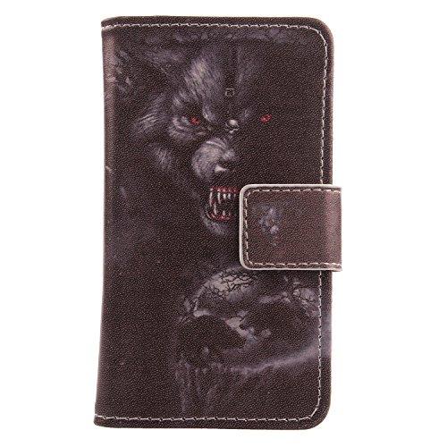 """Lankashi 3in1 Set Stamp Tower Design PU Cuir Coque Case Pour Alcatel One Touch Pop 4S 5.5"""" 5095K Housse Etui Cover Flip Verre Trempé Vitre de Protection écran Rétractable Mini Tactiles Capacitif Stylu Bear"""