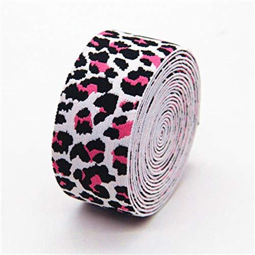 Fasce elastiche leopardate da 4 cm nastro elastico in vita 40mm borse per abbigliamento pantaloni elastici fascia accessori fai da te per cucire1m, rosa bianca, 4cm