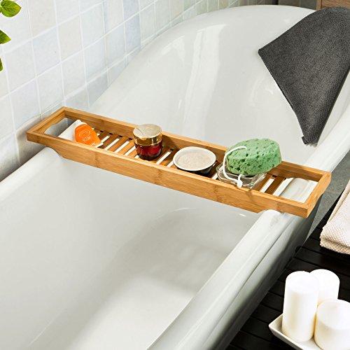 Sobuy ripiano per vasca da bagno in bamb scaffale da bagno set di accessori per il bagno - Accessori per vasca da bagno ...