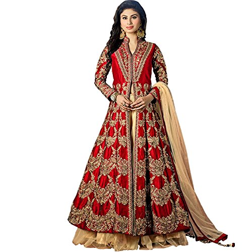 Dee\'s Alley Women\'s red Colour Heavy Tapeta Silk Anarkali Suit
