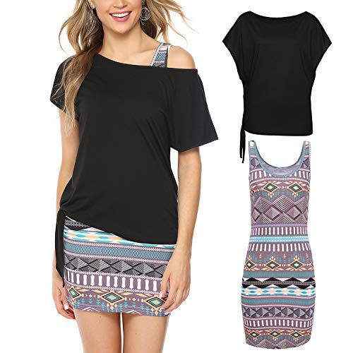 Hawiton Damen Mini Pencil Kleid - Ärmelloses Sexy Bodycon Kleid mit Off-Shoulder T-Shirt Casual Sommer Dünnes Kleid Low Cut Jumper Dress Einfache Strand Beach Party Kleid, Schwarz Streifen, M -