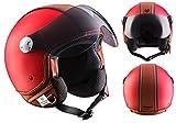"ARMOR · AV-84 ""Vintage Deluxe Red"" (Rot) · Jet-Helm · Bobber Roller Scooter-Helm Motorrad-Helm Mofa Chopper · ECE certified · Visier · Click-n-Secure™ Clip · Tragetasche · M (57-58cm)"