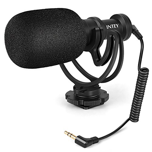 Intey Richtrohrmikrofon Video Mikrofon,stereo kamera Mikrofon mit Stoßfeste Halterung und Tragetasche,professional für Nikon Canon kamera, DV Camcorder und Smartphone