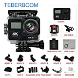 TEBERBOOM - Cámara Deportiva DVDF 4K Ultra Alta Definición Deporte Cámara de Acción S4R WiFi Impermeable Cámara Dual-Screen (Negro)