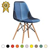 Promo 1 x Chaise Design Inspiration Eiffel Pieds Bois Clair Assise Patchwork Jeans Mobistyl® DSWL-PJ-1
