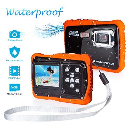 """FLAGPOWER Kinder Kamera Wasserdicht mit 16GB MicroSD-Speicherkarte, Unterwasser Kamera Camcorder für Kinder ab 3 Jahre, Digitalkamera mit 4-Fach Digitalzoom/ 12MP HD Fotos/ 720P HD Videofunktion/ 2"""" TFT LCD Bildschirm (Wasserdicht bis 3 Meter)"""