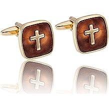 Surprenants boutons de manchette acier inoxydable avec sainte Croix dorée