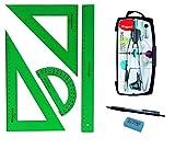 Pack Confezione Set Tecnico Verde Faber Castell 65021Squadra, squadra, righello e Armadietti + 1unità di balaustrone Maped Precision system 291010, colori assortiti con adattatore + regalo