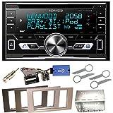 Kenwood DPX-7100DAB Bluetooth USB MP3 Autoradio iPhone iPod Doppel Din AOA 2.0 DAB+ Digitalradio Einbauset für Ford Focus Fusion Galaxy S-Max, Farbe der Radioblende:Schwarz