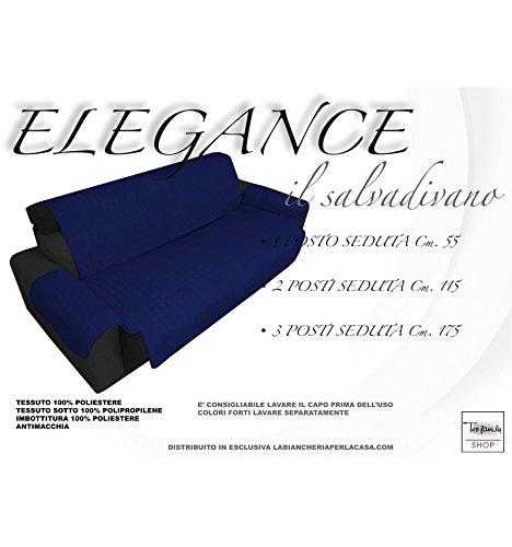 tex family COPRIDIVANO Blu SALVADIVANO Elegance ANTIMACCHIA Trapuntato Piano Liscio Blu - 2 POSTI Seduta cm. 115