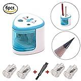 Elektrischer Anspitzer Bleistiftspitzer Set Mit 4 Ersatz Sharpener Kern und 2 Sicherheitsschutz für Das Schreiben, Zeichnen, Malen, Skizzieren, Doppelloch Bleistiftspitzer für 6-8mm und 9-12mm (blau)