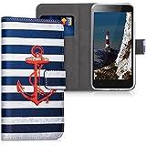 kwmobile Hülle für Lenovo C2 - Wallet Case Handy Schutzhülle Kunstleder - Handycover Klapphülle mit Kartenfach und Ständer Anker Streifen Vintage Design Rot Dunkelblau Weiß
