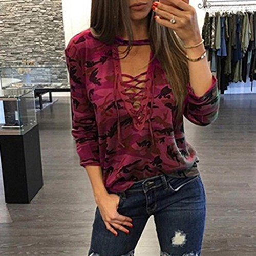 Tonsee® Mode Femmes Manches Longues Chemise Blouse Casual Slim Camouflage Impression Tops Rouge