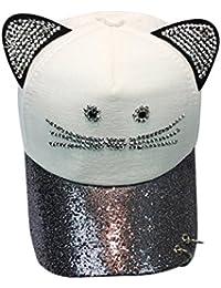 6005dc1ee2937 Sombrero Para El Sol Rawdah Gorra De BéIsbol Linda Del Anillo De La  Lentejuela Del OíDo Del Gato De Las Mujeres Sombrero Hip Hop Flat Hat…