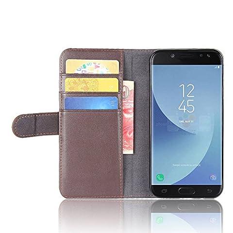 SMTR Samsung Galaxy J5 2017 Coque cuir véritable & PU Cuir Flip Housse Étui Cover Case Wallet Portefeuille Supporter avec Carte de Crédit Fentes pour Samsung Galaxy J5 2017 -marron