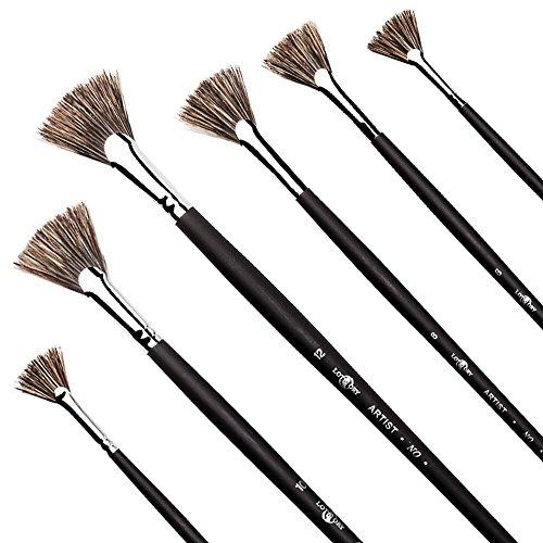 Ventilateur brosses, Starvast 6 pcs Artiste souple Anti-shedding Hog Poils Ensemble de pinceaux pour acrylique aquarelle Huile Painting-black
