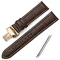 iStrap 24mm Genuine Leather Watch Band Aligator Grain Replacement Strap Rose Gold Deployment Buckle - Brown Strap with Tan Stitch