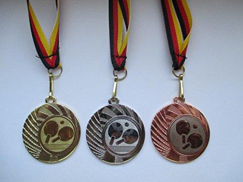 Medaillen Set - Stahl 40mm - Gold Silber Bronze - Tischtennis - TT -Medaillenset - Emblem 25mm -