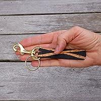 d5ba301677efb Schlüsselanhänger Schlüsselband Zebra Kork braun Streifen schwarz gold  Karabiner