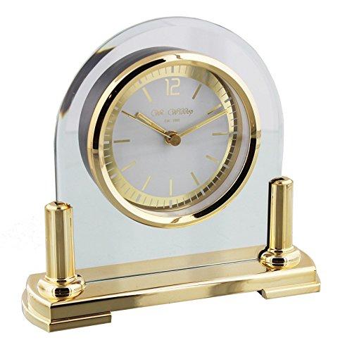 W M Widdop Modernes Glas & Messing zwei Ton Quarz gewölbte Design Kaminuhr -